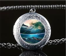 Sea Turtle Photo Glass Tibet Silver Chain Locket Pendant Necklace#U42