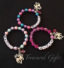 Personalised Pony Child Adult Name Bracelet Little Horse Charm, Party Favour