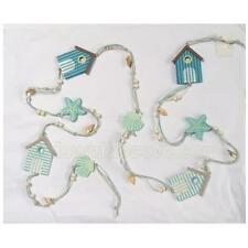 Beach Hut Hanging Decoration - Blue - Shells, Starfish & Beach Huts Garland