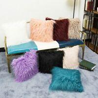 Soft Faux Fur Throw Pillow Case Fluffy Plush Sofa Cushion Cover Room Home Decor