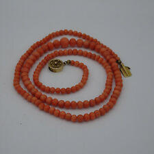 Antique strand of Red Coral Graduated Bead Necklace.Italian.Circa 1900.14K Clasp