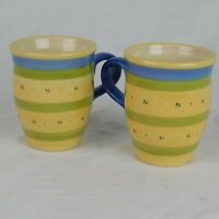 Pfaltzgraff Set of 2 Pistoulet Mugs Cup Coffee Tea Blue Stripe Jana Kolpen 14 oz