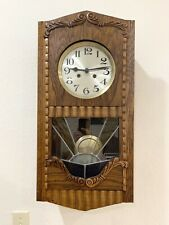 Antique German Wall Clock Leaded Glass Strike 8 Day Rare Art Decor Design Case