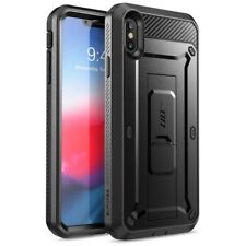 """For iPhone Xs Max 6.5"""" Case, SUPCASE Fullbody Cover +Screen+Kickstand+Clip BLACK"""