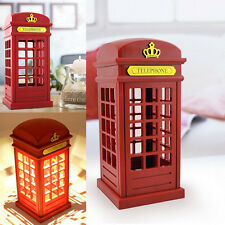 Plastic Brightness Night Light Red Telephone Booth LED Touch Adjustable Desk