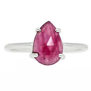 Natural Faceted Pink Sapphire 925 Sterling Silver Ring Jewelry s.7.5 BR89639