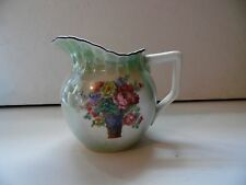 Vintage Luster Pitcher Creamer Flowers In Basket Germany