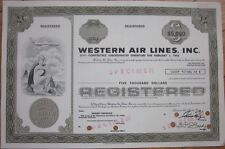 Specimen Stock/Bond Certificate: 'Western Air Lines, Inc.' - Airline/Aviation