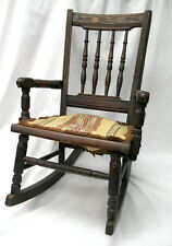 1800s handmade child's rocking chair / turned pegged spindles / rare condition