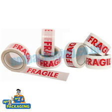6 Rolls - 48mm x 50m Strong Fragile Printed Parcel Packing Packaging Tape Long