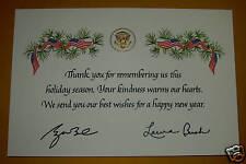 PRES BUSH WHITE HOUSE USA FLAG THANK YOU CHRISTMAS CARD RED WHITE BLUE DAR