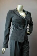 $1790 New ARMANI COLLEZIONI Ash Gray Pinstripe Wool Ruched Detail Jacket 12