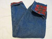 L L Bean Womens Flannel Lined Denim Jeans Relaxed Fit Pants Jr 14 Short 30 x 26