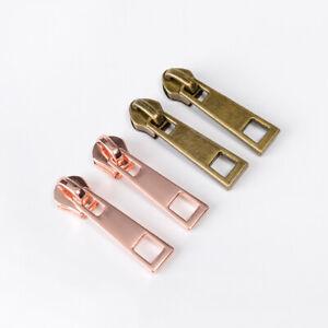 10 Pcs #5 Zipper Slider Metal Pull Molded Head Repair Replacement Kit Stop DIY