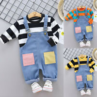 2PCS 0-4T Toddler Kids Baby Boy Stripe Long Sleeve Top Overalls Pants Outfit Set