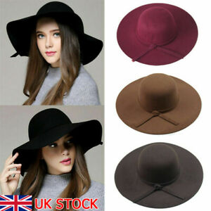 Autumn Winter Vintage Floppy Hat Women Elegant Felt Fedora Hat Wide Brim Sun Cap