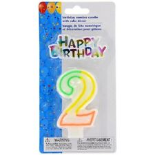 Happy Birthday & Number 2 Candle Years  2nd Two Cake Topper Decoration 2 Piece