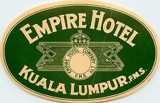 Empire Hotel ~KUALA LUMPUR - MALAYSIA~ Seldom Seen Old Luggage Label, 1935