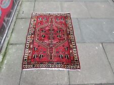 Vintage Worn Hand Made Traditional Rug Oriental Wool Red Small Rug 114x79cm