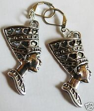 EGYPTIAN STYLE NEFERTITI  SILVER TONE LARGE HANDMADE EARRINGS FOR PIERCED EARS