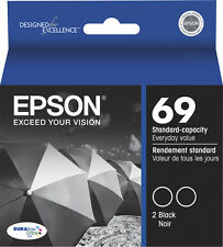 Epson Genuine 69 Black 2-Pack Ink Cartridges X6000 CX7400 CX7450 CX8400 CX9400F