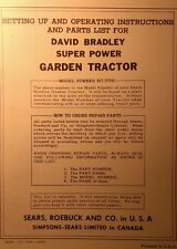 Sears David Bradley Garden Tractor, Engine, Plow Owner & Parts Manuals (3 BOOKS)
