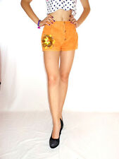 Womens Vtg 80s Cotton Orange Floral Embellish Hand Custom Jeans Hot Pants AG33