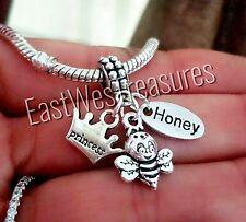 Honey Bee, Queen Bee, Flower charm pendant for DIY Bracelet necklace/European