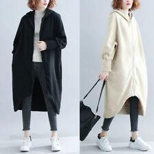 Women Hooded Coat Long Sweatshirt Winter Velvet Warm Zipper Outdoor Loose Jacket