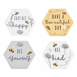 Bee Kind - Positive Quotes - Bee Ceramic Coasters - 4 Designs **FREE UK P&P**