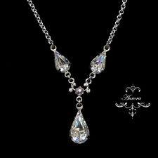 Swarovski Crystal Elements Pear Tear Drop Necklace Clear Silver Wedding Bridal