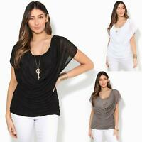 Womens Ladies Loose Drape T Shirt Pleated Cowl Neck Top Mesh Tunic Blouse 2 in 1