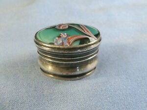 ANTIQUE SILVER PLATED & ABSTRACT HARD GLASS ENAMEL  PILL POT TRINKET STASH BOX