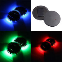 1pcs Car Solar Cup LED Lights Lamp Atmosphere Holder Pad Cover Trim Bottom Light