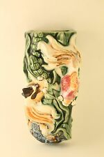 Vtg Asian Chinese Japanese Koi Fish Ceramic Pottery Wall Pocket Planter Vase