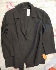 NEW Dana Buchman -Sz 24 $560 charcoal grey 100 % Wool Blazer Jacket -a10