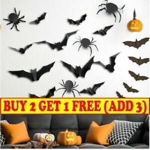 3D Spider Bat Skull Wall Window Sticker Haunted House Halloween Party Home Decor