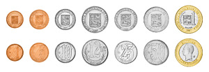 Venezuela 7 Pcs Coin Set 1 5 10 12.5 25 50 Centimos 1 Bolivar 2007, UNC, BIMETAL
