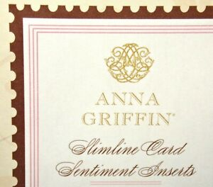 Anna Griffin Slimline Card Sentiment Inserts Folded 30pcs  15 saying 2 of each