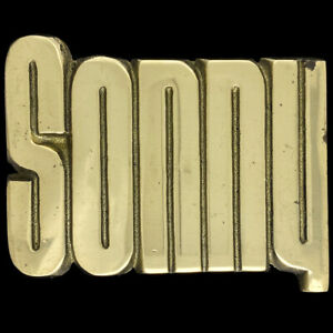 Sonny Son Name Retro Hippie Western Cowboy Brass 1970s NOS Vintage Belt Buckle
