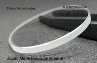 Watch Glass Mineral Crystal Lens Flat 2.5mm thick range 17mm to 40mm JAPAN MADE