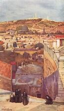 JERUSALEM. The Mount of Olives from a housetop on Mount Zion 1902 old print