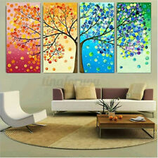 4Pcs Wall  Art Canvas Unframed Four Seasons Tree Printing Picture  Room