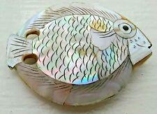 Japanese Netsuke Flat Fish with Inlaid Mother of Pearl on Wood Edo 4.9 cm long