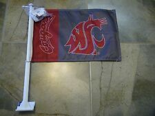 Lot of 2 Washington State Cougars Double Sided Car Window Wall Mount Flag Banner