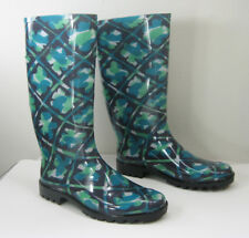 NEW BURBERRY Carleton Check Blue Green Floral Tall Rubber Rain Boot EUR 41/US 11
