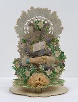 Raffinierte Hochzeitskarte mit sich reichenden Händen, um 1900, Chromolitho