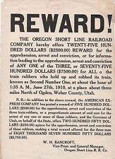Rare 1910 Reward Poster for Oregon Short Line Train Robbery Ogden Weber Co Utah