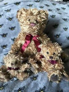 """RUSS BERRIE """"GREGORY"""" BEAR X 3 - 13"""" Seated - 7"""" Seated & 5"""" """"Baby Gregory"""""""