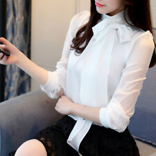 Women's Elegant Bow Tie Stand Collar Sheer Chiffon Blouse OL Solid Shirt Tops